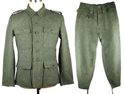 Wwii German M43 Wh Em Field-grey Wool Uniform Jacket And Trousers Size S-33101