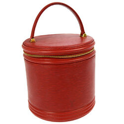 AUTH LOUIS VUITTON CANNES COSMETIC HAND BAG VANITY RED EPI LEATHER M48037 A34110