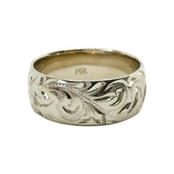 Hawaiian Heirloom Jewelry 14k White Gold 8mm Custom Hand Carved Ring Your Name
