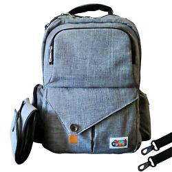 Large Stylish Multi-Function Gray Baby Diaper Bag Backpack Great For Travel....