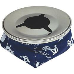 12-blue Stainless Steel 4-1/8 Dia Bean Bag Boat Windproof Ashtray 79401