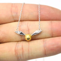 Harry Potter Golden Snitch Quidditch Wings Necklace 925 Sterling Silver Pendant
