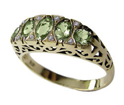 R307 Genuine 9ct 9k 10k 18k Solid Gold Natural Peridot And Diamond Eternity Ring