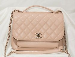 Chanel Large Business Affinity Flap Bag Caviar Leather Beige