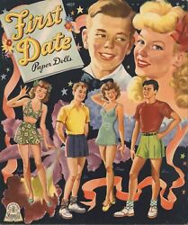 Vintage Uncut 1944 First Date Paper Doll Scarcelasr Reproductionlo Prfree Sh