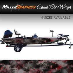 Camo Boat Wrap Kit Chameleon Black and Red 3M Cast Vinyl - 6 Sizes Available