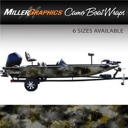Camo Boat Wrap Kit Chameleon Black and Yellow 3M Cast Vinyl - 6 Sizes Available