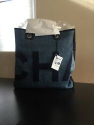NWT authentic blue Chanel Deauville Tote Bag