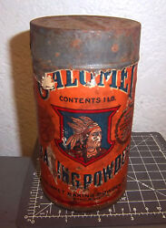 Vintage Calumet Baking Powder 1 Pound Tin, Bright Colors And Graphics, Paper Label