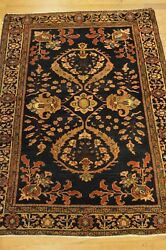 3and039x5and039 Farahan Genuine Antique Handwoven Blue Floral Wool Rug Ca.1850