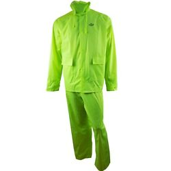 Rk Safety Rw-pp-hig33 Hi-vis-green Polyester Rain Suit With Hoodie