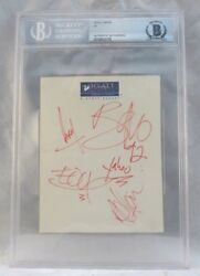 U2 All 4 1992 Band Signed Autographed 4x5.5 Cut Beckett Certified Slabbed