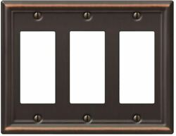 3 Decorator Wall Plate Electrical Cover Safety Switch Dimmer Metal Aged Bronze
