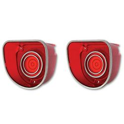 68 Chevy Impala Caprice Red Tail Brake Turn Signal Light Lamp Lens And Trim Pair