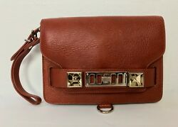 NWOT's Proenza Schouler wristlet clutch brown leather silver hardware flap PS11