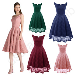 Women#x27;s New Vintage Boat Neck Lace Formal Wedding Cocktail Evening Party Dresses $24.99
