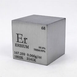 1 Inch 25.4mm Varnished Erbium Metal Cube 99.9 148grams Engraved Periodic Table