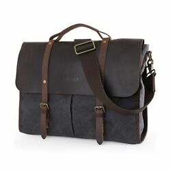 Lifewit Men's Messenger Bag Leather Waterproof Waxed Canvas Lap... 2DAY DELIVERY