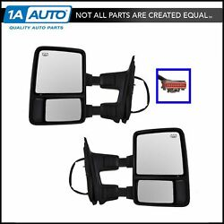 Power Heated Memory Turn Signal Towing Side View Mirrors Pair Set for Super Duty