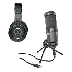 Audio Technica AT2020USB Plus Cardioid Condenser + Monitor Headphones ATH-M40x