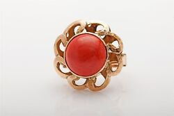 Antique 1940s Retro 10ct Natural Coral Sun 14k Yellow Gold Ring Cool 9g