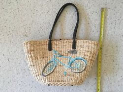 J Crew Straw Tote Beach Market Bicycle Large Bag Purse Vacay Leather Handle NEW