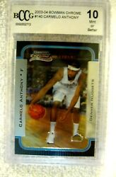Carmelo Anthony Rc 2003-04 Bowman Chrome Rookie Card140 Graded Beckett Bccg10