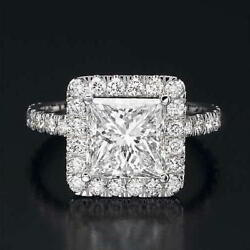 Women Diamond Ring Enhanced Solitaire With Accents 2.5 ct 14K White Gold
