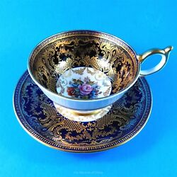 Cobalt Blue And Gold Border With Signed Ja Bailey Florals Aynsley Tea Cup And Saucer