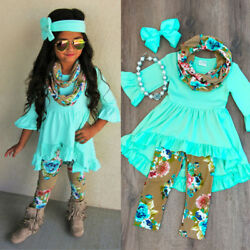 Boutique Toddler Kids Baby Girl Flower Top Dress Pants Legging Outfit Clothes U