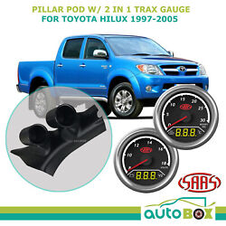 Pillar Pod W/ 2in1 Boost Ext Temp And Dual Volts Gauge For Toyota Hilux 1997-05