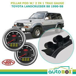 Pillar Pod W/ 2in1 Boost Ext Temp And Dual Volts Gauge For Landcruiser 80 1990-98