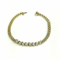 1.10cts Round Diamond S Style Link Tennis Bracelet 14k Yelow Gold 7 Inches Long