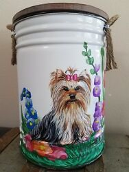 Yorkie Yorkshire Terrier Dog Hand Painted Food Bin or Toy and Coat Leash Holder