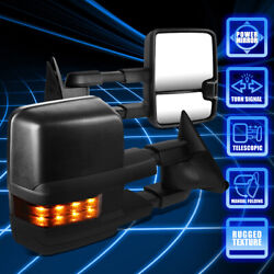 For 88-02 Gm Gmt400 C/k Power+smoked Led Extendable Side View Towing Mirrors