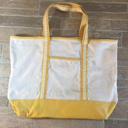 OLD NAVY X Large Canvas Bag Tote Shopper Natural Canvas Yellow Pattern Beach R