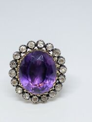 Georgian Amethyst And Clear Paste Cluster Ring 15k Yellow Gold And Sterling C. 1820