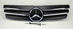 3 Fin Front Black & Chrome Hood Sport Grill for Mercedes SL Class R129 W129