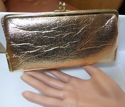 Vintage St Thomas Gold Metallic Women's Fine Leather Clutch Wallet Card Incld