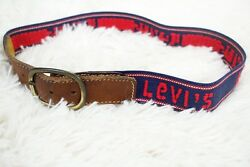 Vintage Levi's Belt Spell Out Stretch + Brown Leather Brass Buckle Women's 25 Xs