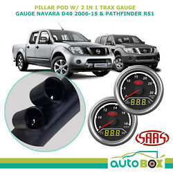 Pillar Pod W/ 2in1 Diesel Boost Ext Temp And Dual Volts Gauge For Nissan D40 And R51
