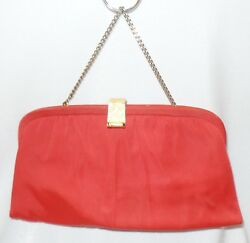 Vintage After 5 2 Piece Set Clutch W Jeweled Clasp & Chain and Extra Case RED
