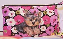 hand painted Yorkie Yorkshire Terrier little quilted makeup bag Cul DE Sac