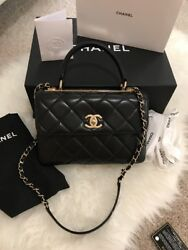 Chanel Small Black CC Trendy Lambskin Satchel wGold-tone HW