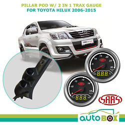 Pillar Pod W/ 2in1 Boost Ext Temp And Dual Volts Gauge For Toyota Hilux 2006-2015