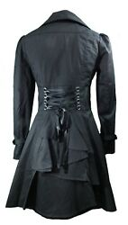 20 22 24 26 28 Plus Black New Gothic Victorian Corset Trench Steampunk Jacket