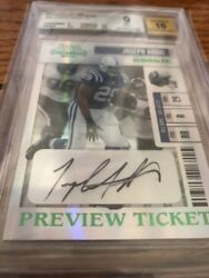 Preview Ticket 96/100 Joseph Addai 2006 Playoff Contenders Auto Bgs 9 Rookie Rc