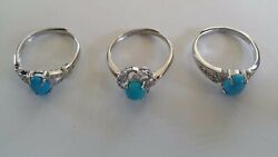 Huge wholesale lot 200 Sterling Silver Rings with Turquoise and Cubic Zirconia