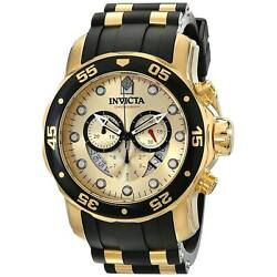 Menand039s Watch Pro Diver Scuba Chronograph Gold Tone And Black Dial 17566