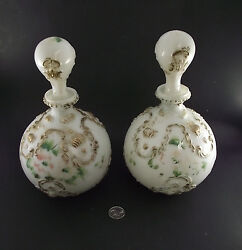 2 Antique Victorian Fancy Milk Glass Painted Dresser Bottes Decanters W Stoppers